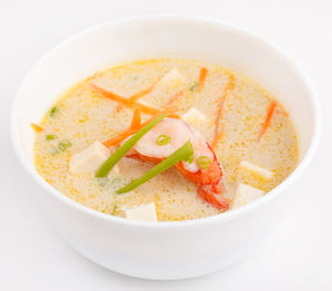 Crab, prawn and coconut soup