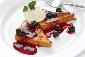 Brioche french toast with blueberry compote