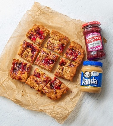 Raspberry Jam & Peanut Butter Blondies