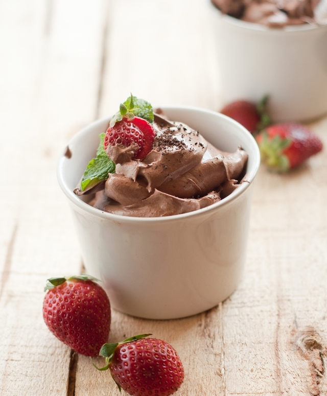 Chocolate and berry mousse pots