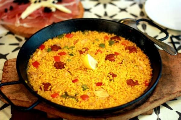 Authentic and aromatic shrimp and chorizo paella
