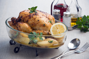 One pan lemon roast chicken and potatoes