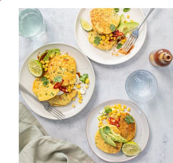 Green Isle Sweetcorn Fritters with Avocado, Chilli & Lime Yogurt