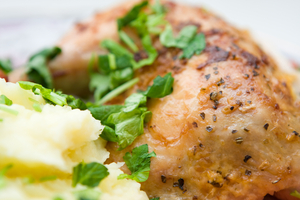 Lemon roast chicken with rustic mash