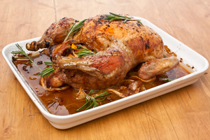 Roast chicken with chorizo and thyme stuffing