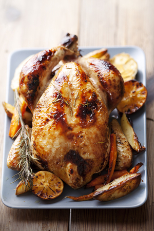 Roast chicken with lemongrass butter