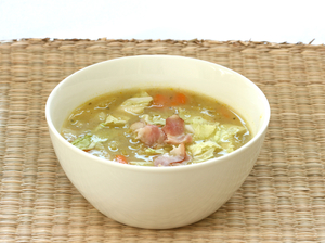 Potato and savoy cabbage soup with bacon