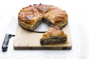 Moroccan-spiced pie with harissa yoghurt dressing