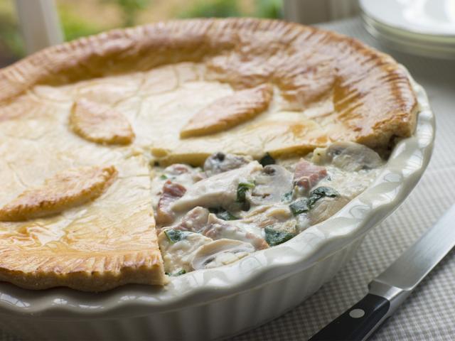 Quick chicken and mushroom pie