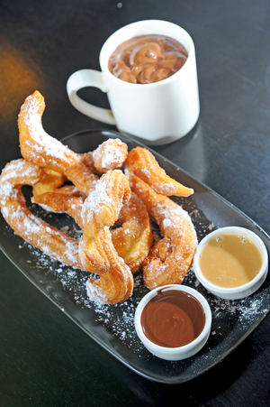 Churros with hot chocolate sauce