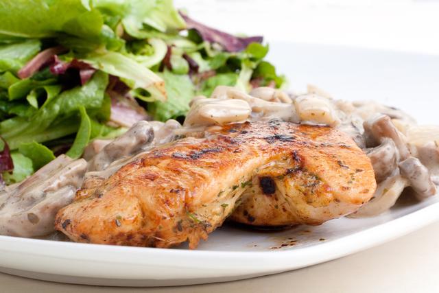 Pan fried chicken in mushroom sauce