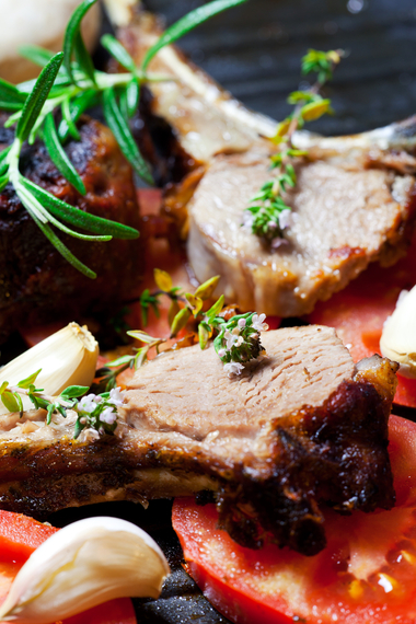 Lamb with smoked garlic and provencal vegetables