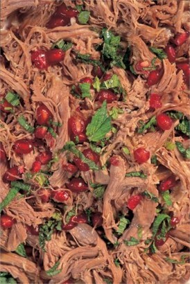 Warm shredded lamb with mint and pomegranate