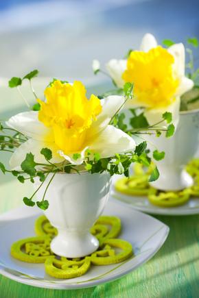 Eggcup flower arrangements
