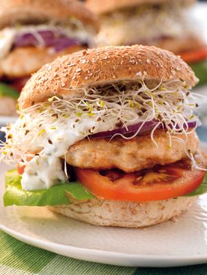 Mild mustard salmon burger