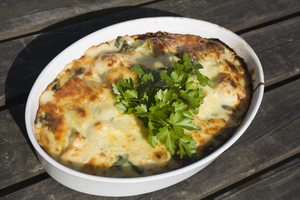 Healthy lasagne with spinach and mushrooms
