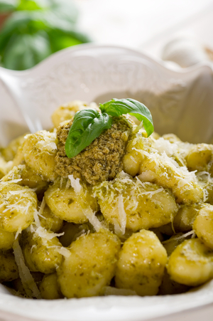 Gnocchi with lemon and chive pesto