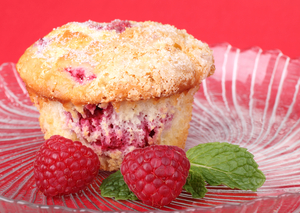 Raspberry and apple muffins