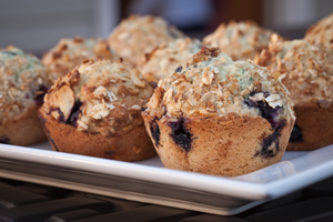 Banana and blueberry muffins