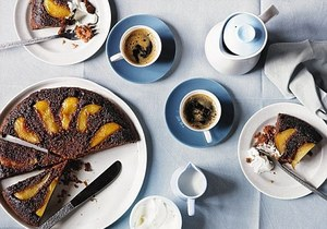 Caramelised pear upside down cake