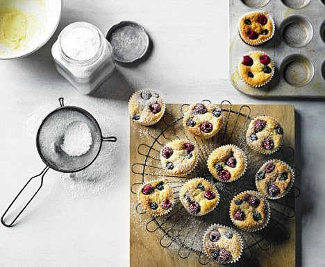 Raspberry and blueberry friands