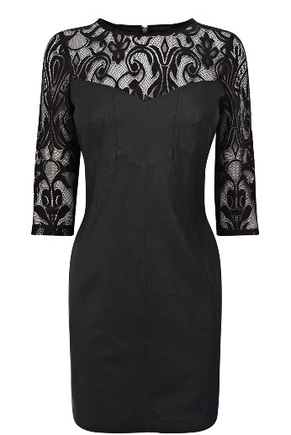 Leather and lace panel dress