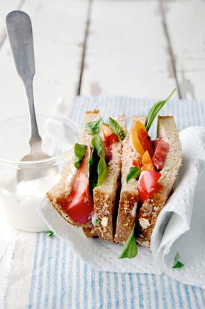 Heirloom tomato, basil and mayo sandwiches