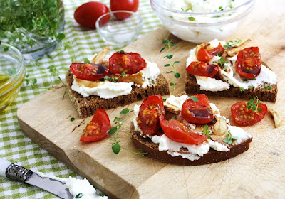 Slow-roasted cherry Tomatoes with Herbed Ricotta