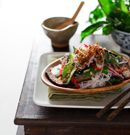 Beef, mushroom and noodle salad recipe