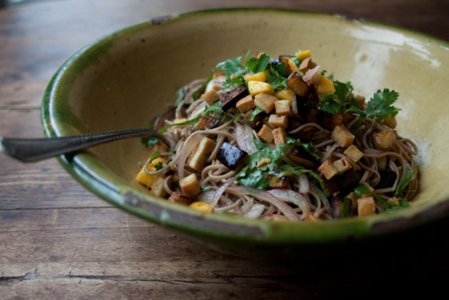 Ottolenghi soba noodles with aubergine and mango