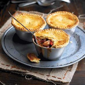 Smoky chicken and bean pot pies with a cornmeal crust