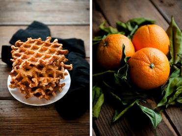 Orange cinnamon Belgian waffles with dark chocolate hot fudge