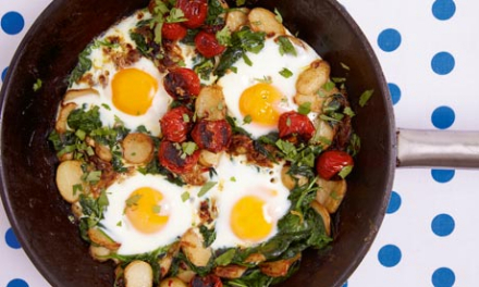 Braised eggs with tomato, spinach and yoghurt recipe