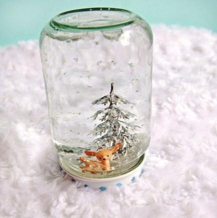 DIY Recycled Jar Snowglobes