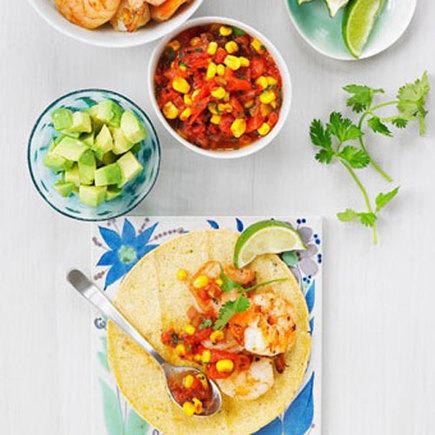 Shrimp tacos with warm corn salsa