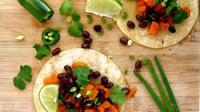 Chili-lime sweet potato and black bean tacos