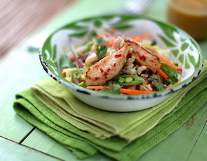 Chicken salad with chilli, ginger and lime dressing
