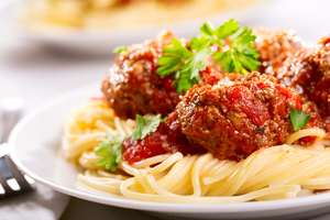 Meatballs with homemade pasta sauce and spaghetti