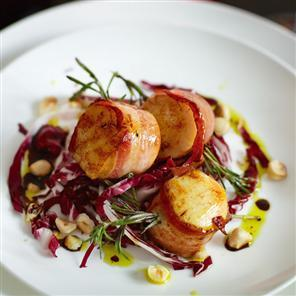 Rosemary seared scallops with pancetta, radicchio and toasted hazelnuts