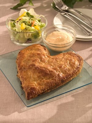 Heart-shaped salmon en croûte