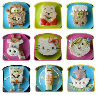 Cute character sandwiches