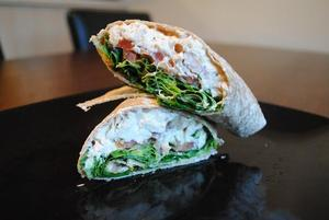 Creamy lemon, mustard and basil chicken wrap