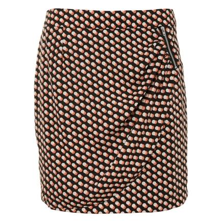 Front Zip Wrap Skirt Print
