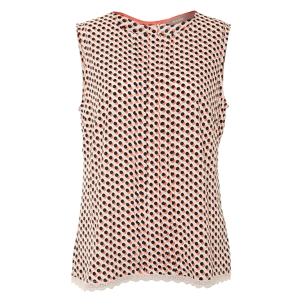 Pintuck Shell Top Coral/Black