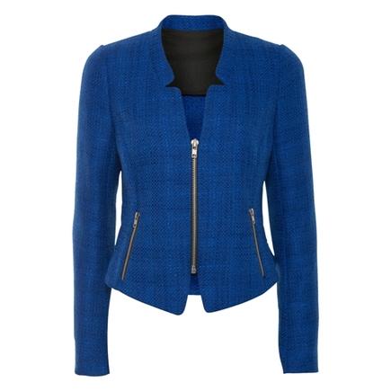 Boucle Zip Jacket Blue