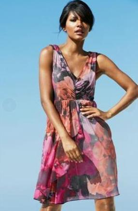Printed Ruched Occasion Dress