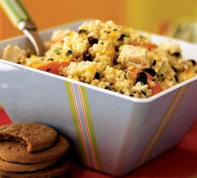 Couscous Salad with Chicken and Chopped Vegetables