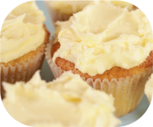 Butter cream cupcakes with golden butter cream