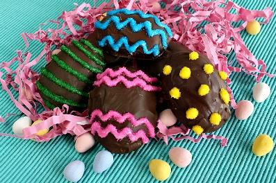 Homemade chocolate marshmallow eggs