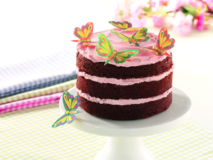 Mini butterfly chocolate layer cake